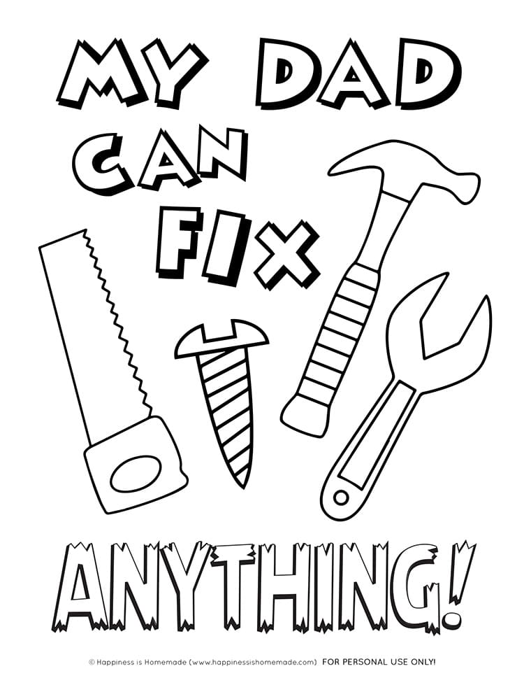 Printable Father\'s Day Card + Coloring Page - Happiness is ...