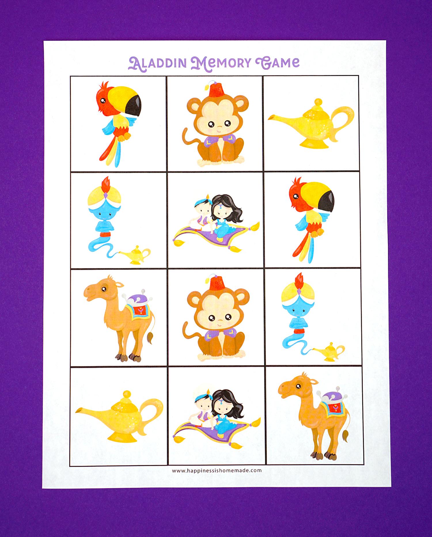 Aladdin Memory Game Printable