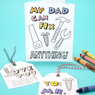 Printable Father's Day Card + Coloring Page