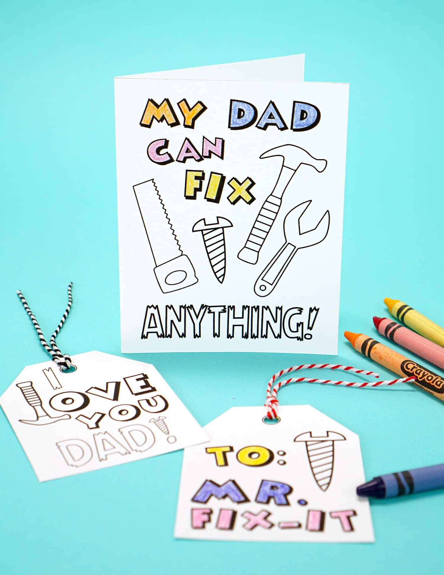photograph relating to Printable Fathers Day Cards named Printable Fathers Working day Card + Coloring Web page - Contentment is