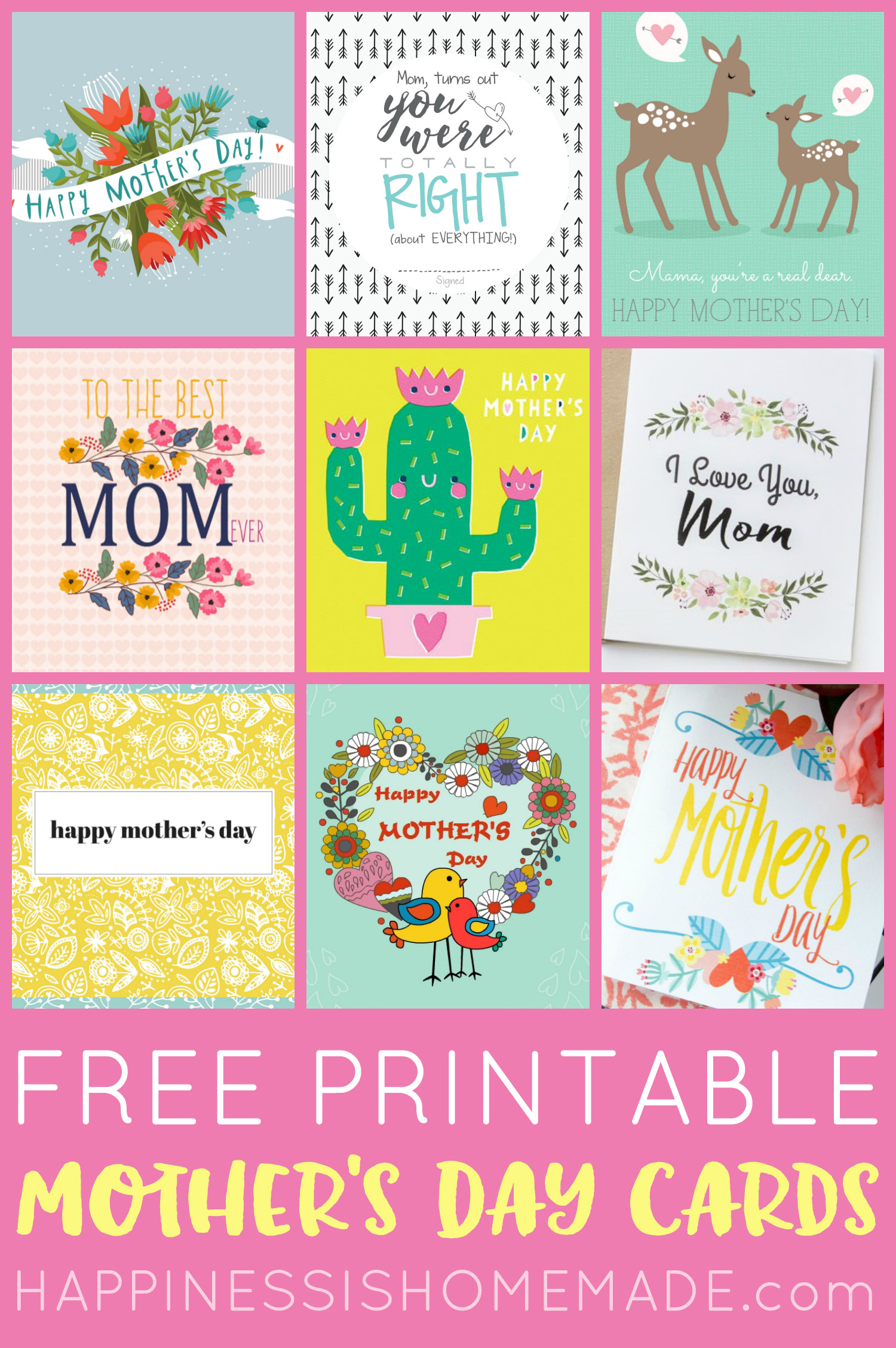 picture regarding Happy Mothers Day Printable Card named Totally free Printable Moms Working day Playing cards - Pleasure is Handmade