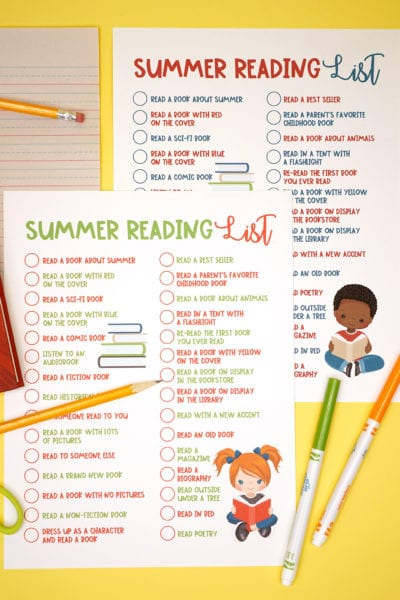 Printable Summer Reading List for Kids