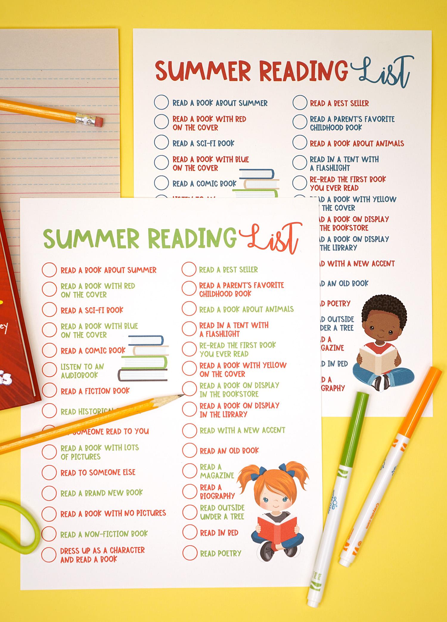 photograph regarding Who Was Book Series Printable List called Printable Summertime Examining Dilemma Checklist for Children - Pleasure