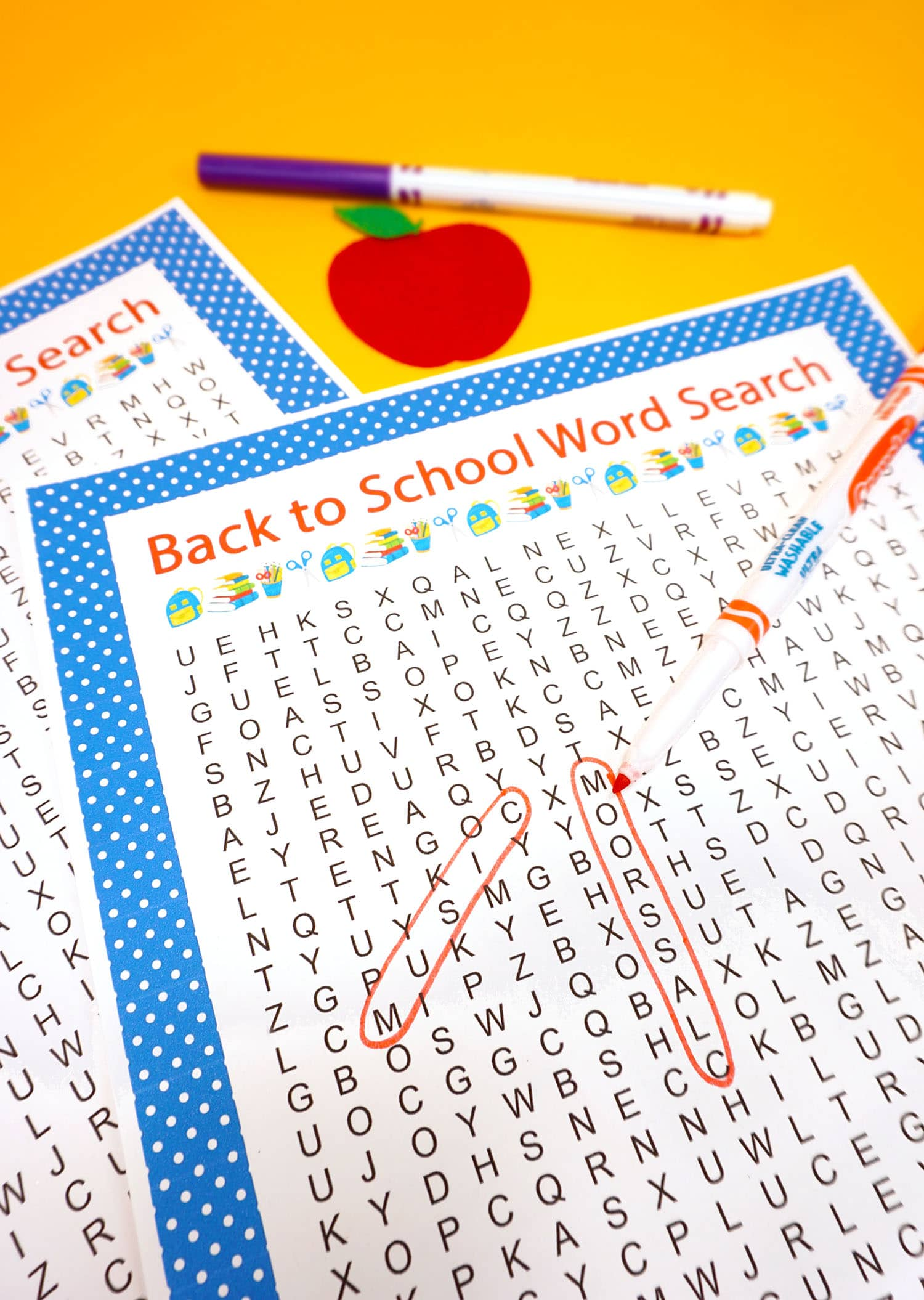 Back to School Word Search with two circled answers