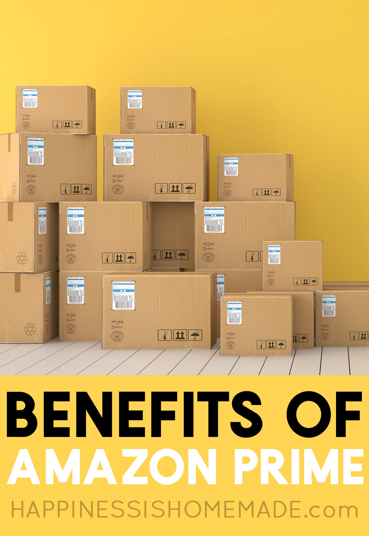 Boxes stacked up - Benefits of Amazon Prime