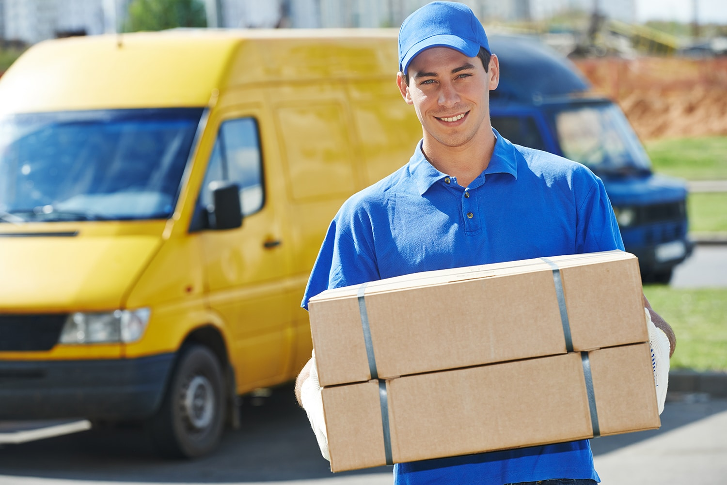 Delivery driver with two packages