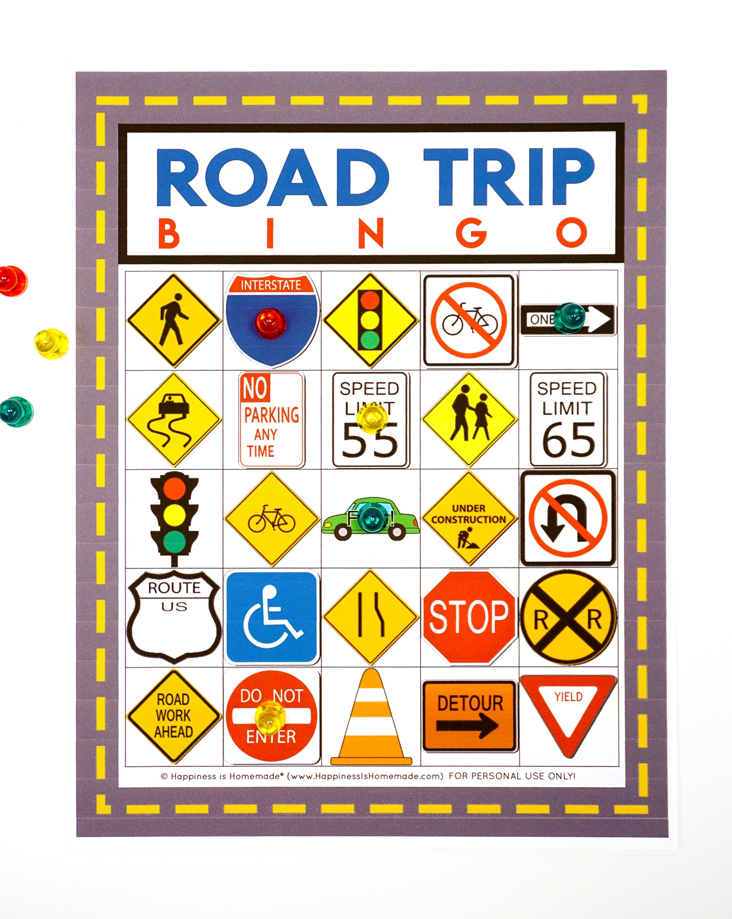 picture about Printable Road named Street Getaway Bingo Recreation - Free of charge Printable - Joy is Selfmade