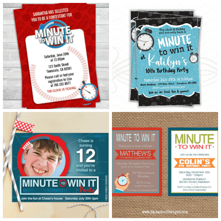Minute to Win It Party Invitations