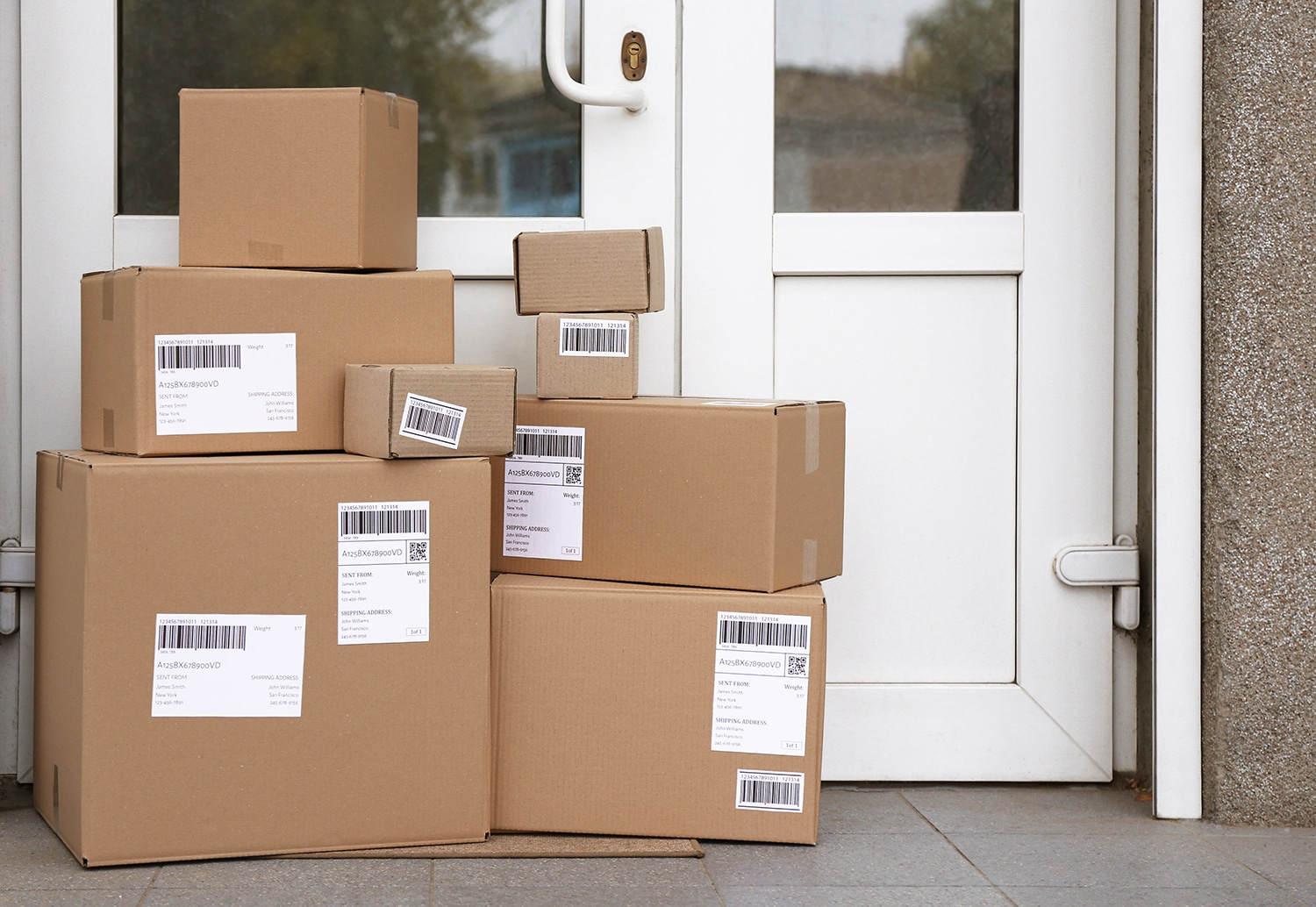 Delivered packages boxes on front porch