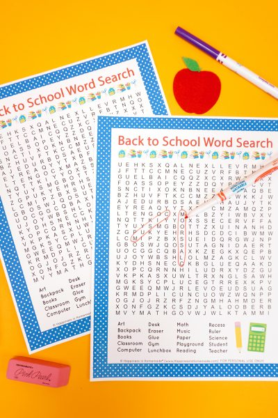 Printable Back to School Word Search