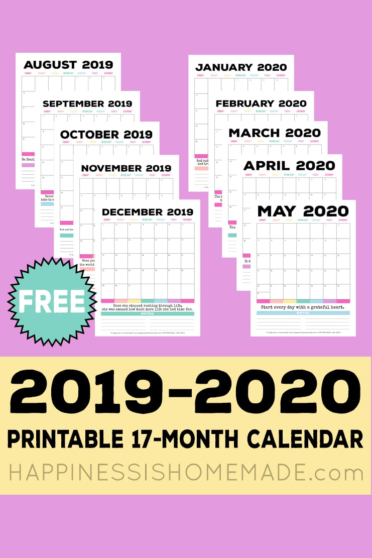 2020 Calendar 2019 Printable.2019 2020 Free Printable Monthly Calendar Happiness Is