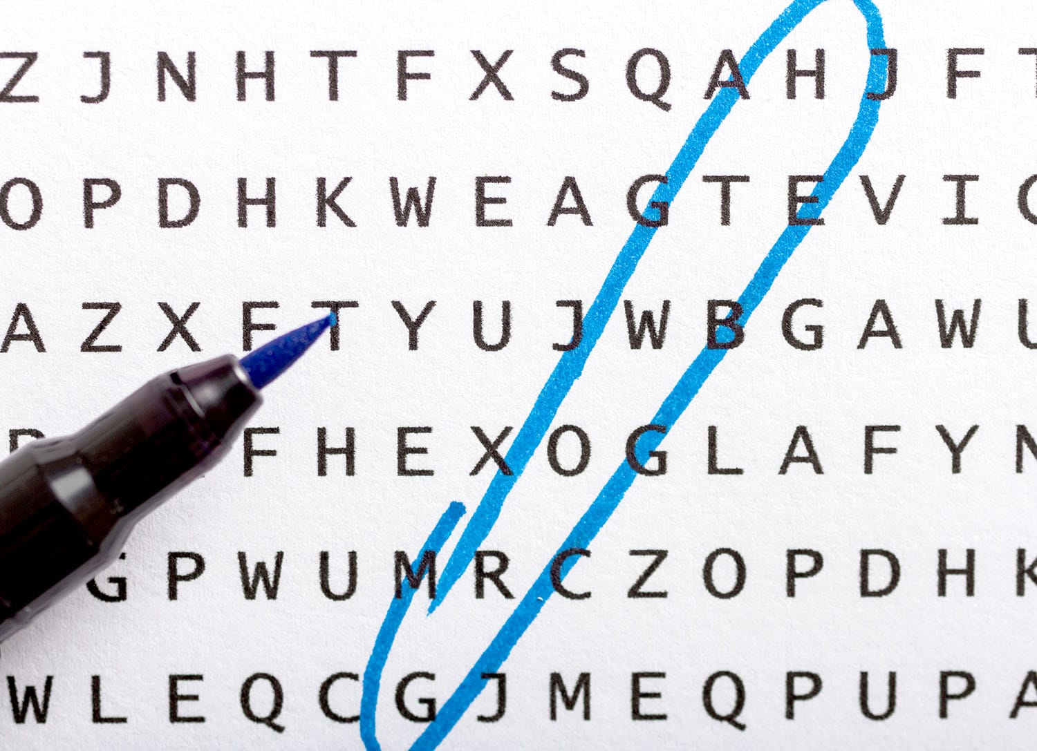 "Word search with the word ""growth"" circled"