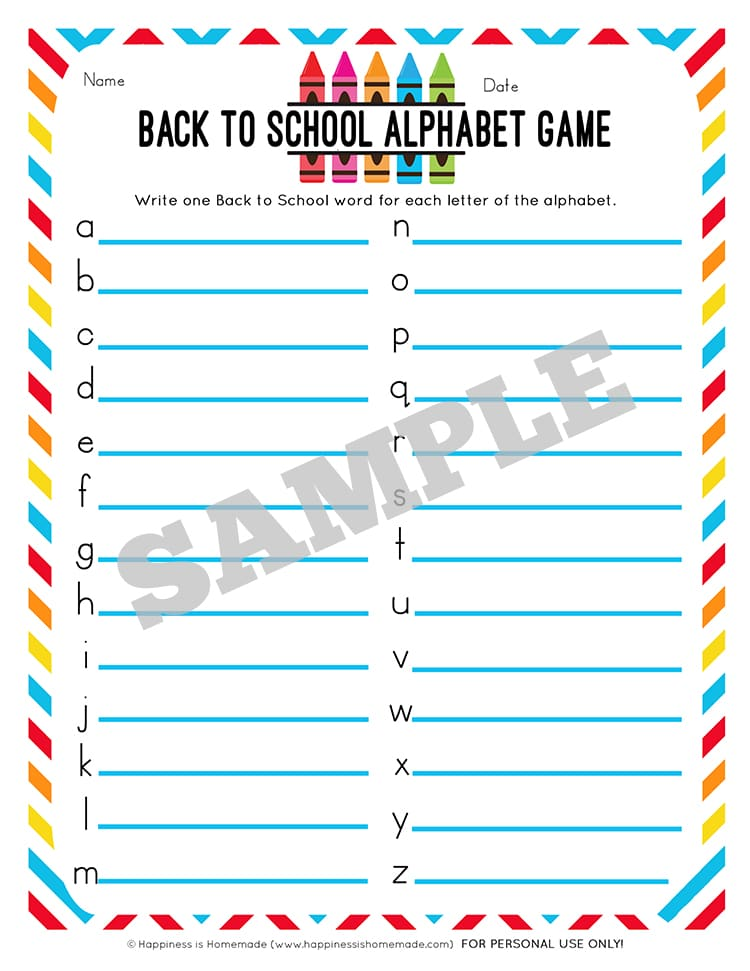 Back to School Alphabet Game Printable - Happiness is Homemade