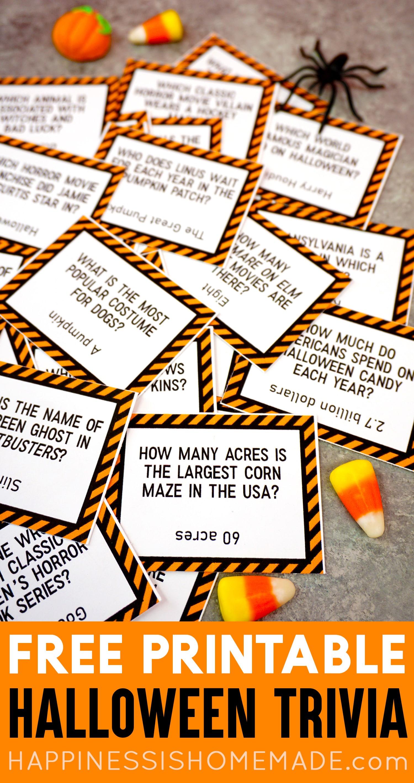image about Printable Halloween Trivia called Printable Halloween Trivia Activity - Contentment is Handmade