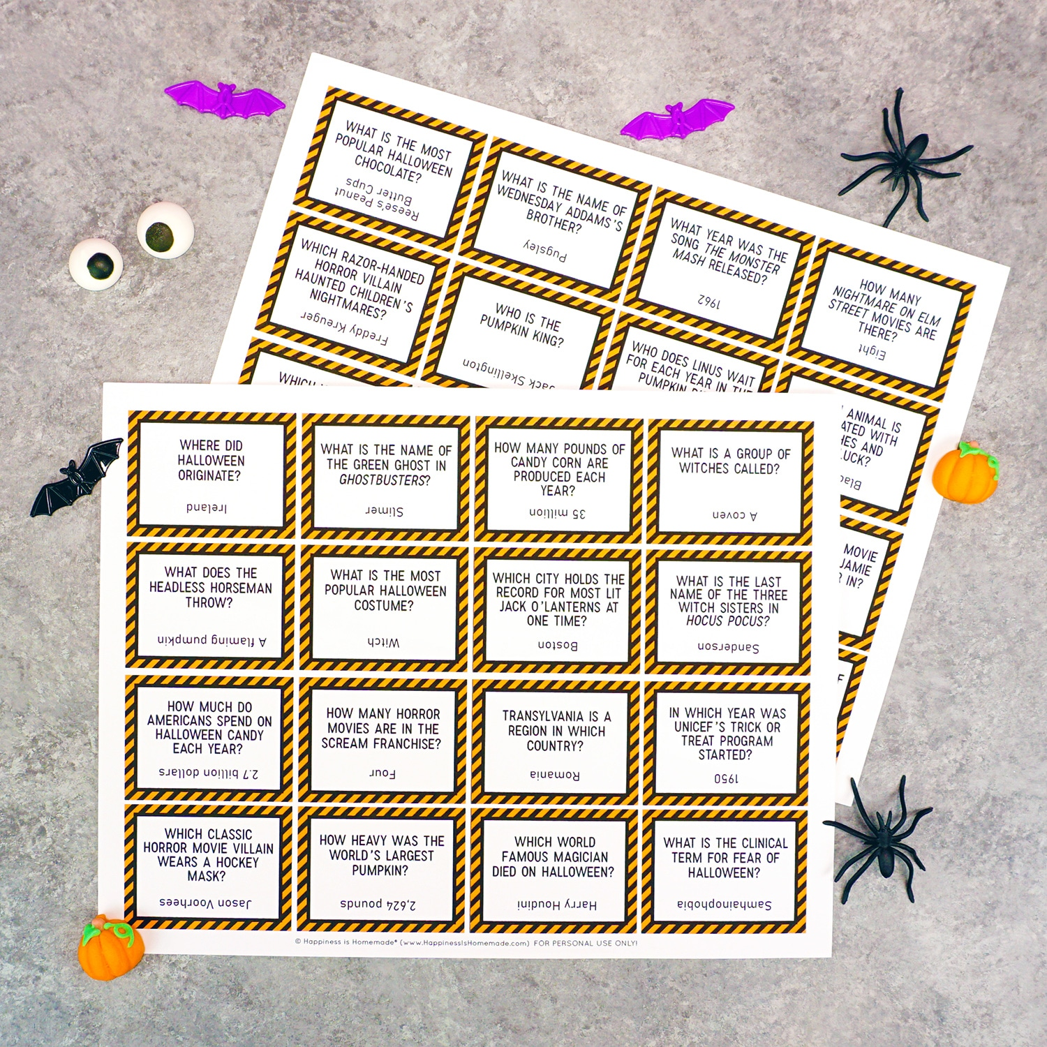 graphic about Printable Halloween Trivia named Printable Halloween Trivia Recreation - Contentment is Selfmade