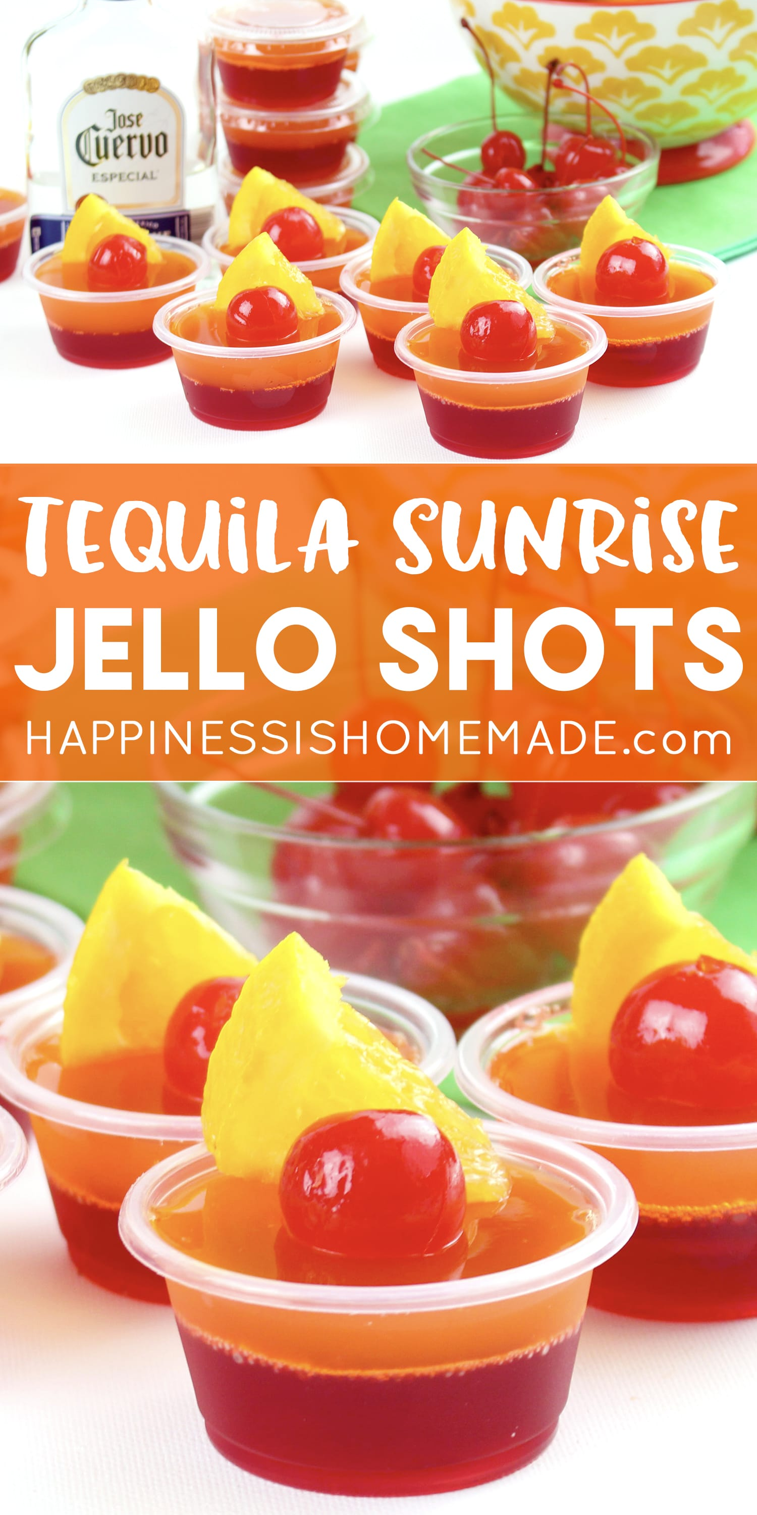 tequila sunrise Jello shots on white background with orange wedge and maraschino cherry garnish