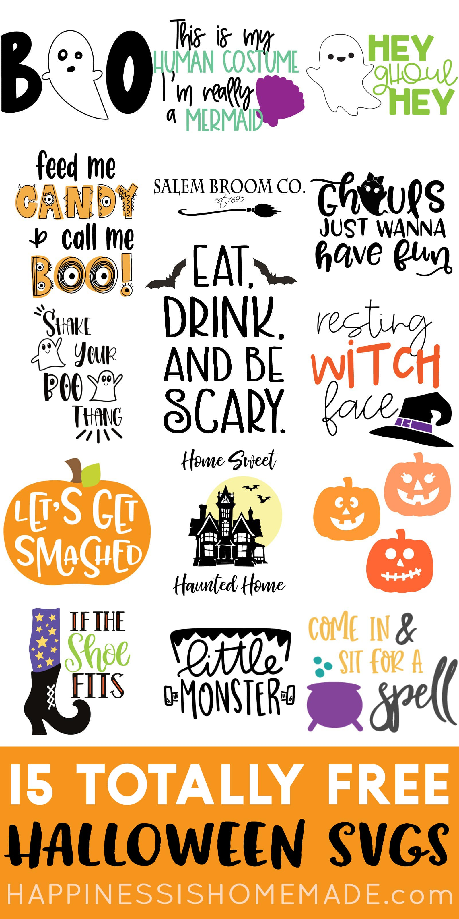 Free Halloween SVGs - Happiness is Homemade