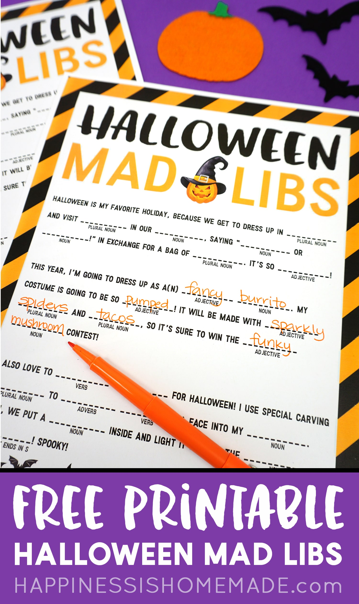 Free Halloween Mad Libs Printable Kids