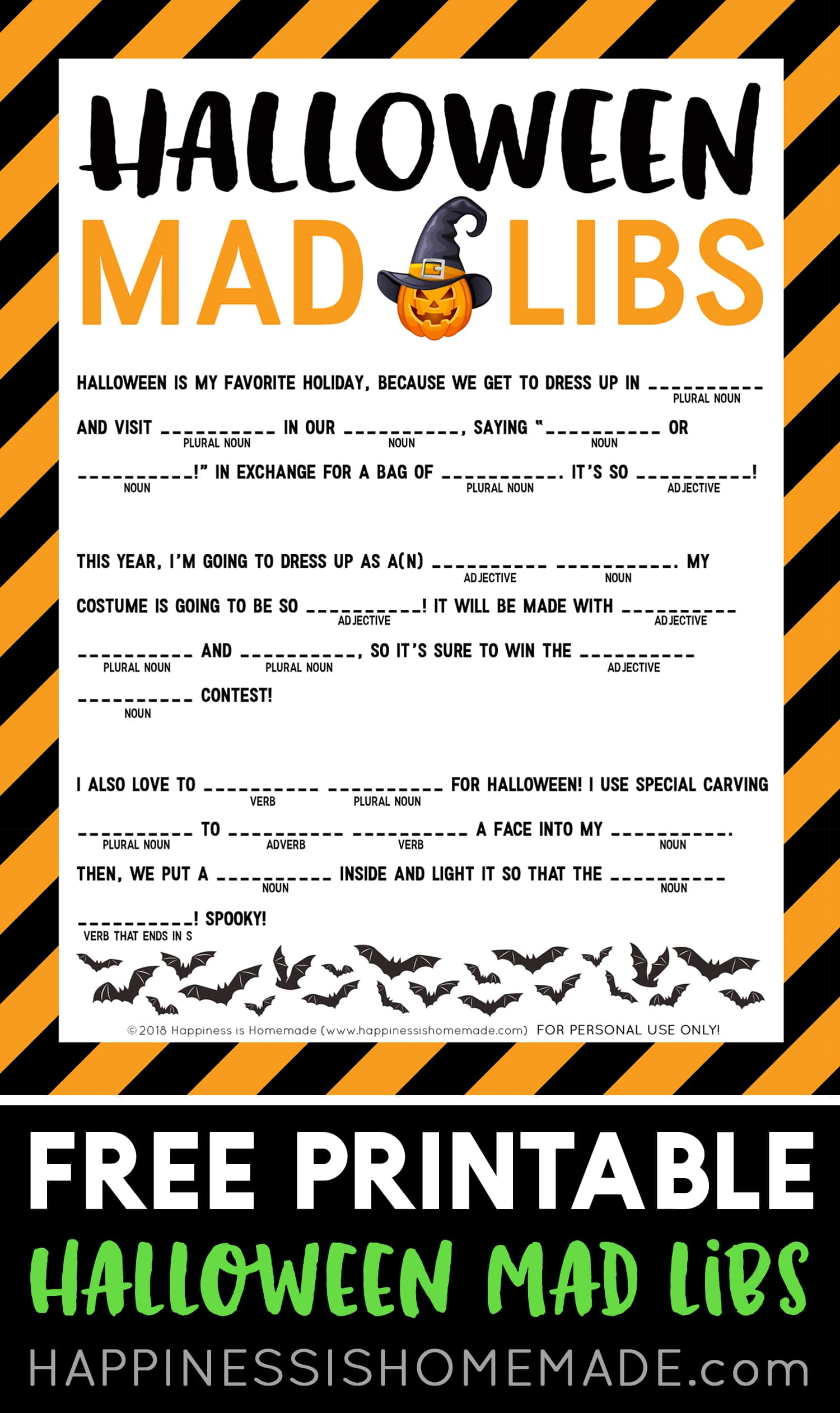 Halloween Mad Libs Printable Happiness Is Homemade