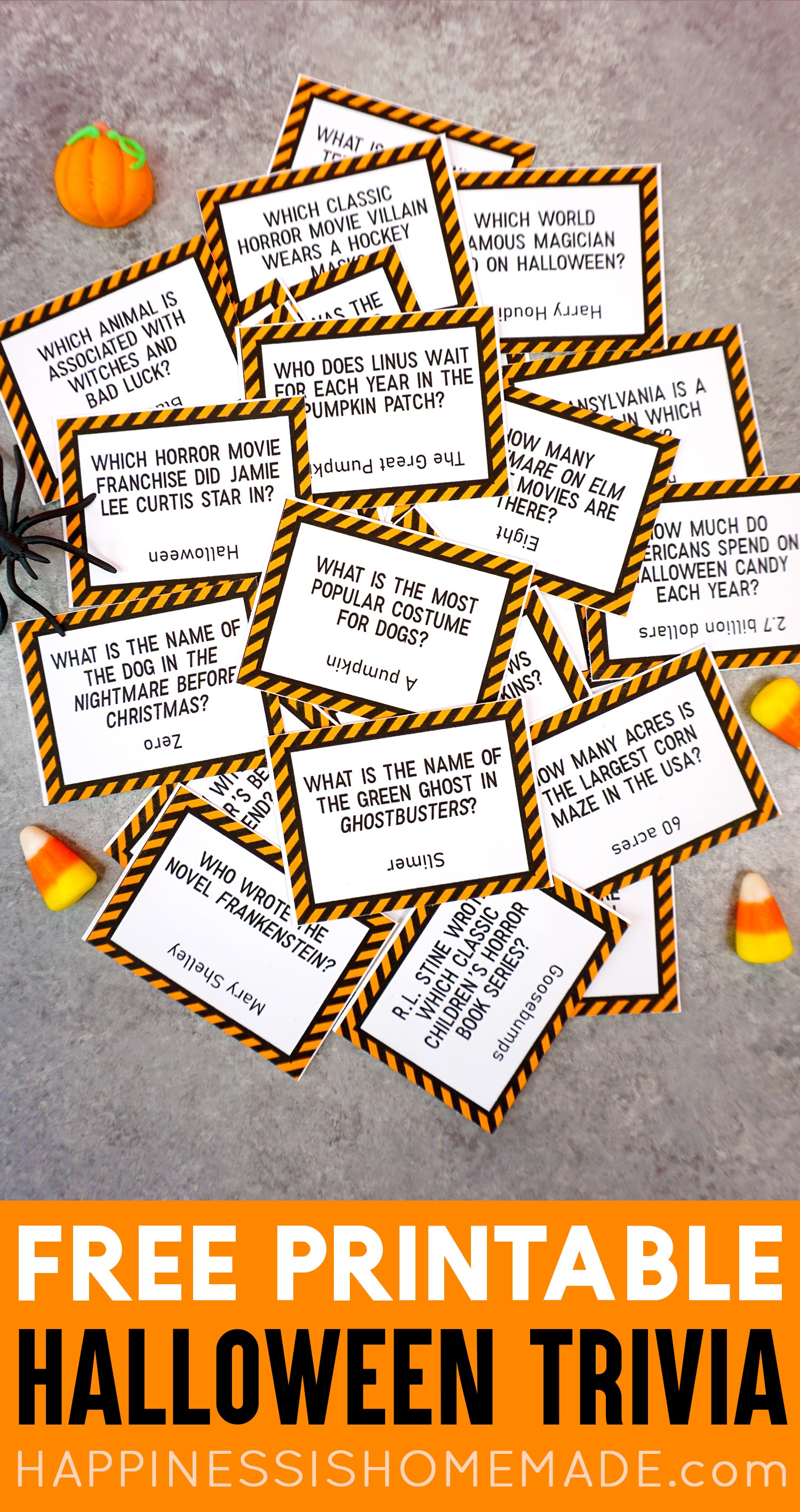 image relating to Halloween Trivia Questions and Answers Free Printable identify Printable Halloween Trivia Video game - Contentment is Home made