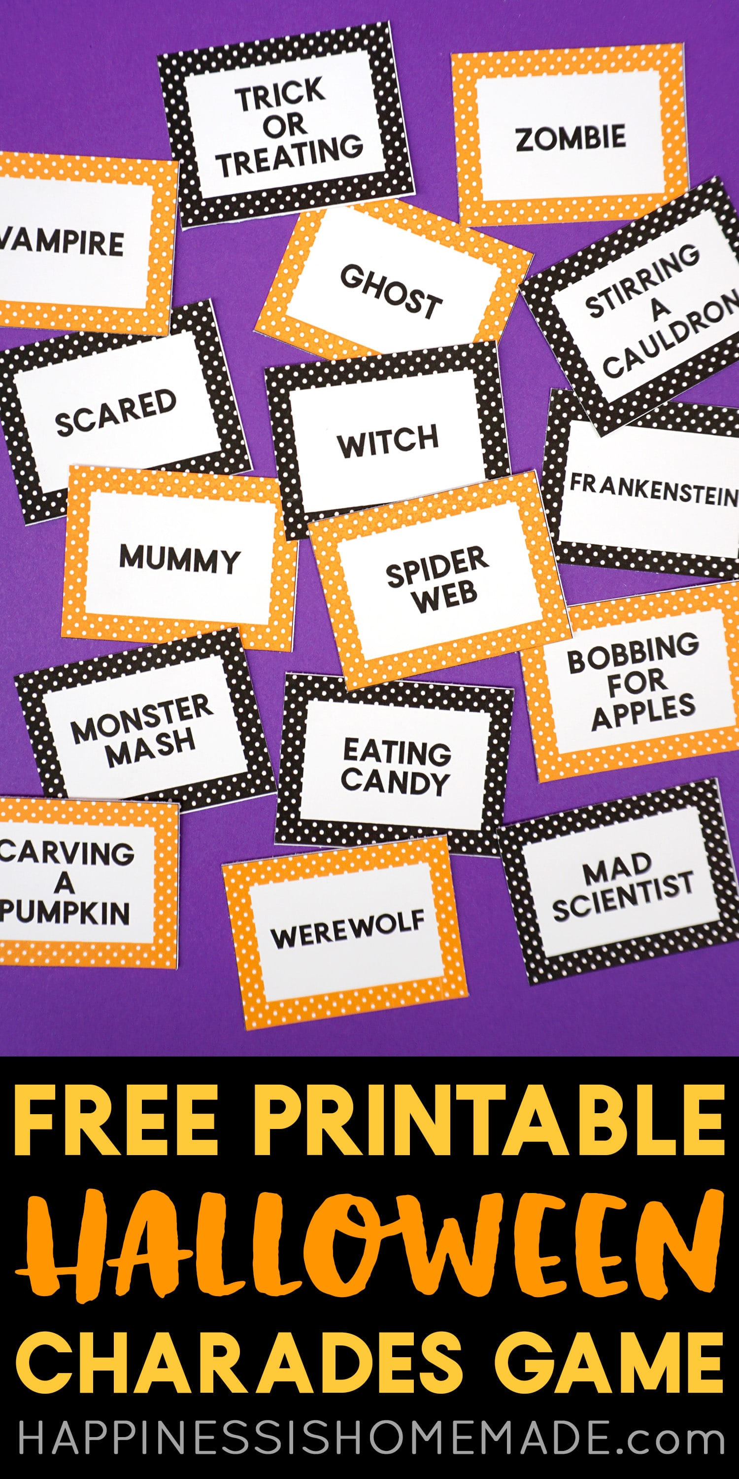 Printable Halloween Charades Game Cards - These fun printable Halloween Charades Game Cards are a ton of fun! They're also great for Pictionary, Headbanz, and more! A silly and fun Halloween game for all ages! via @hihomemadeblog