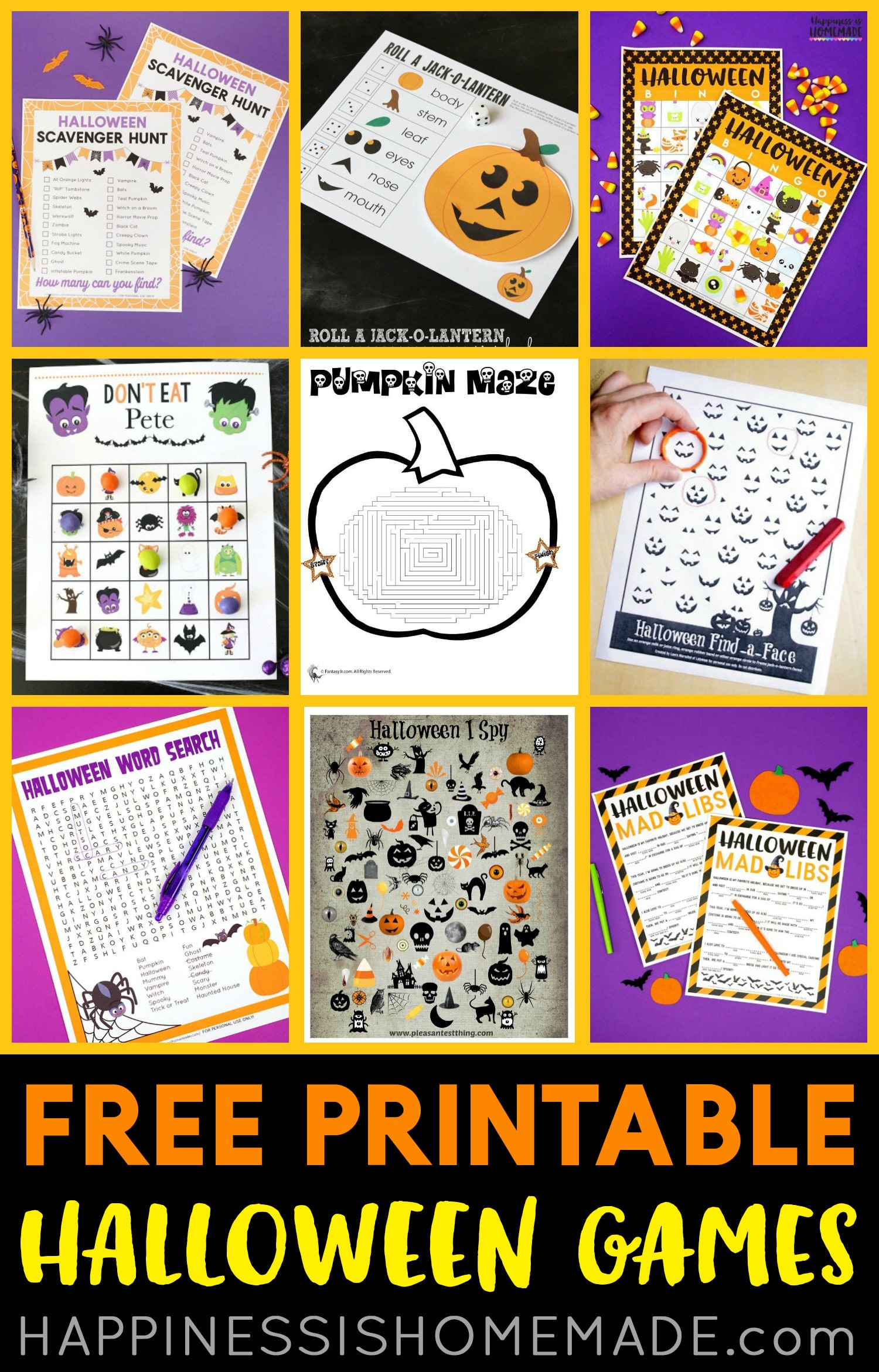 Free Printable Halloween Games for Kids! Everyone will love these ready-to-go Halloween games - simply print and play! Great for Halloween parties, classrooms, family game nights, and more! via @hihomemadeblog