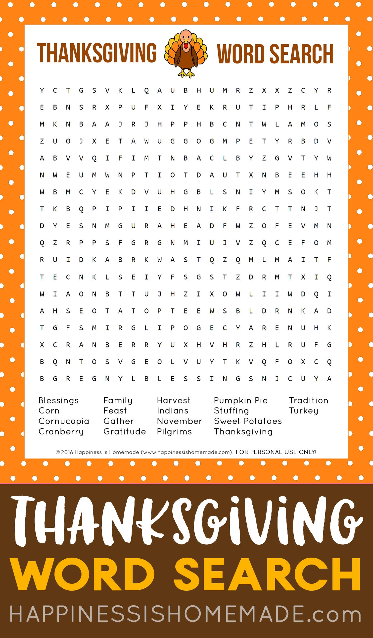 Free Thanksgiving Word Search Printable Game