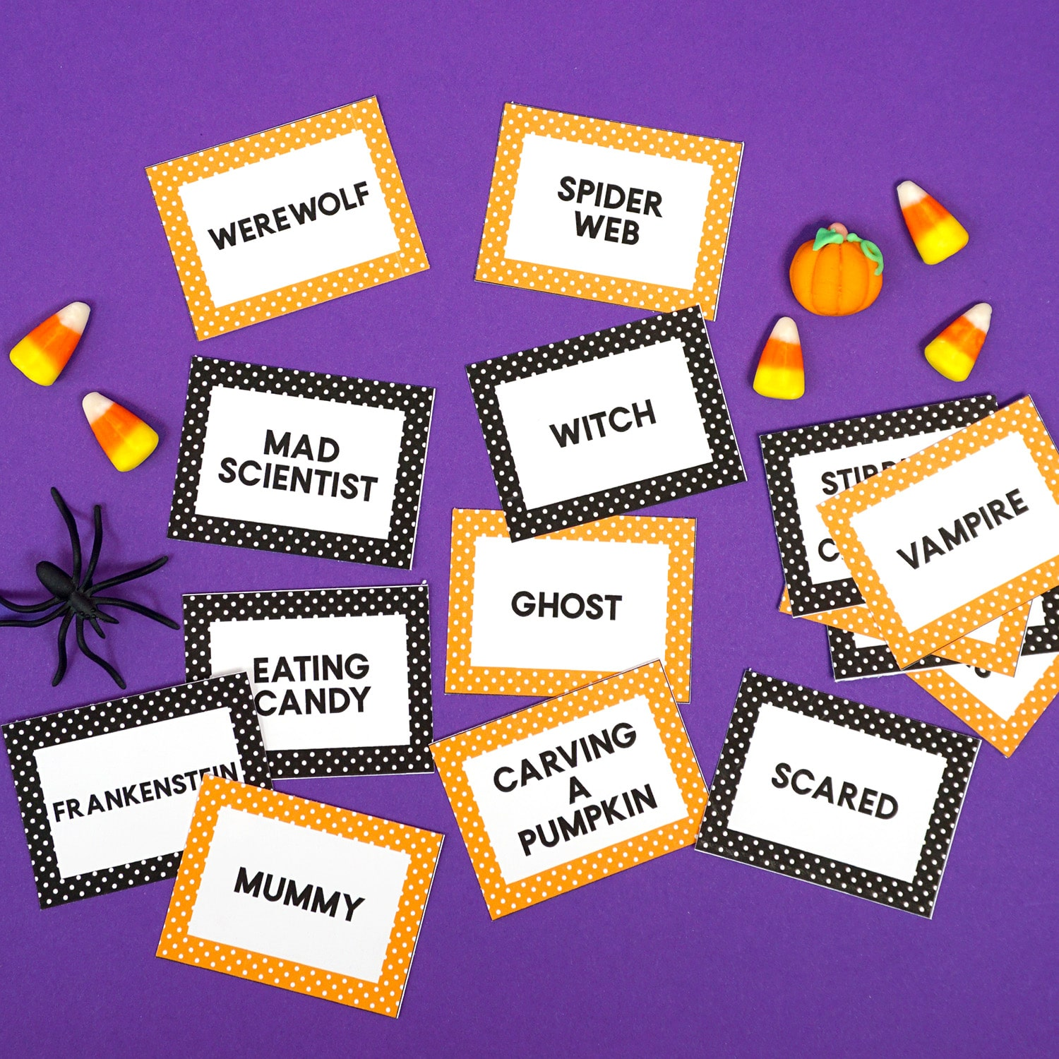 picture regarding Halloween Charades Printable referred to as Halloween Charades Video game Playing cards - Contentment is Selfmade