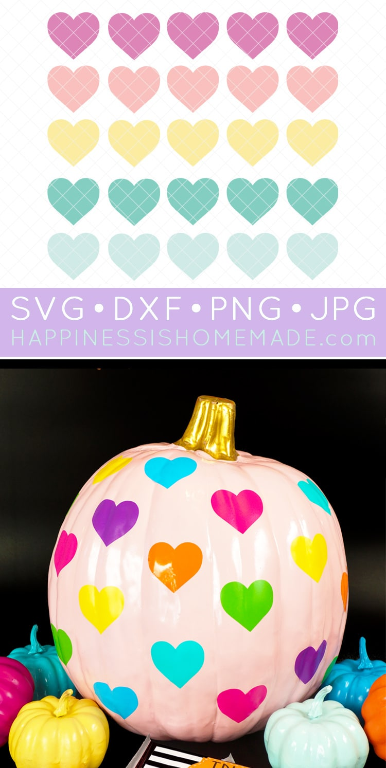 Rainbow Heart Pumpkin + SVG File: Brighten up your Halloween with this adorable rainbow heart pumpkin! Make this super fun Halloween pumpkin quickly and easily with vinyl - PLUS, get 12 MORE awesome vinyl Halloween pumpkin ideas!  via @hihomemadeblog