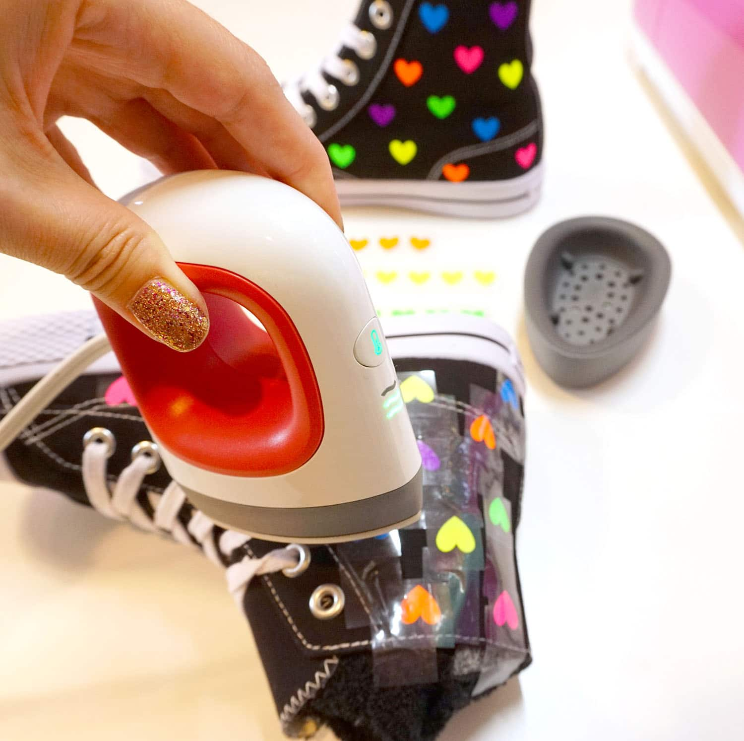 Rainbow Heart Shoes With Cricut Easypress Mini Happiness