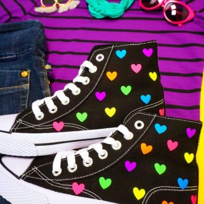 Rainbow Heart Shoes with Cricut EasyPress Mini