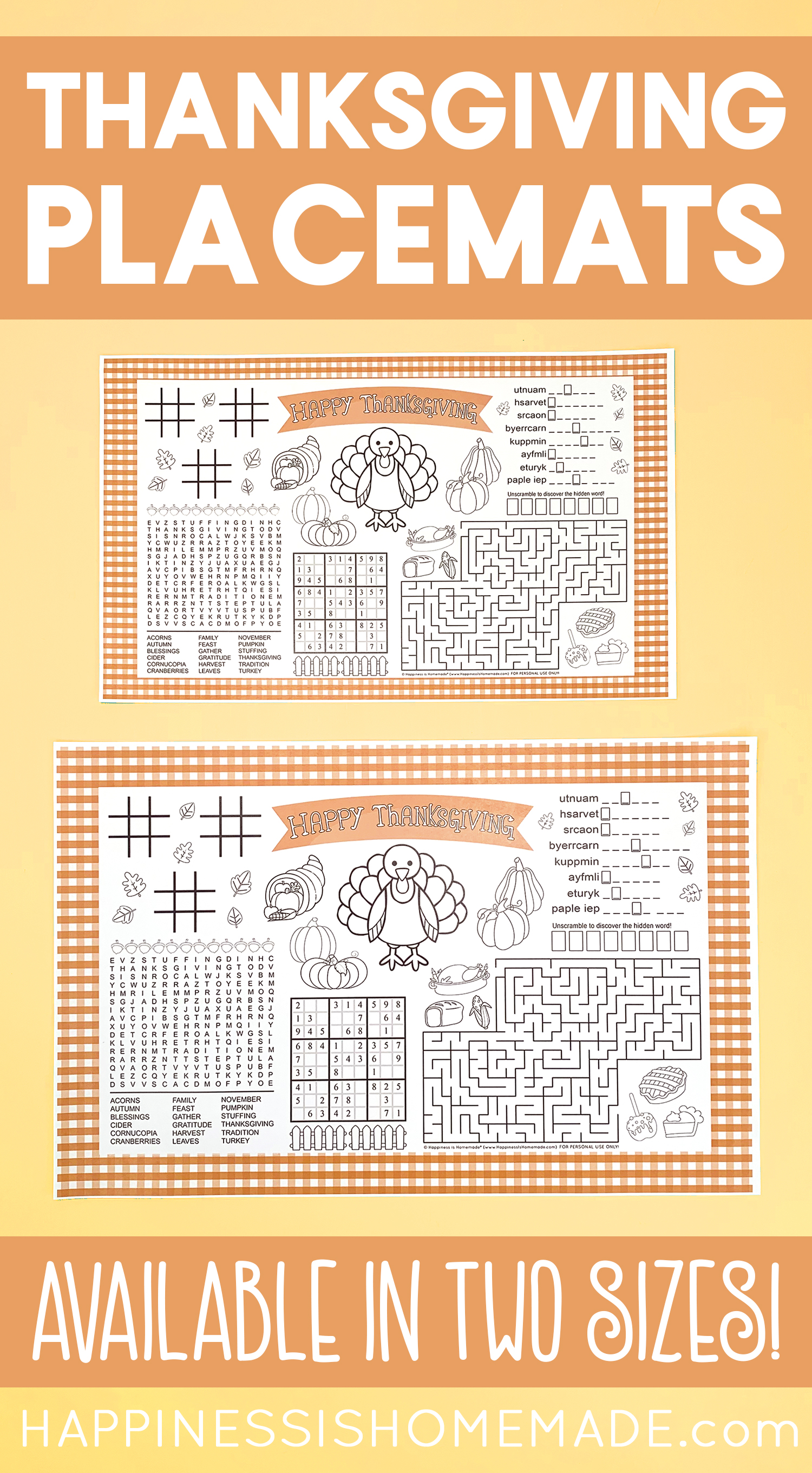 Printable Thanksgiving Placemats for Kids: These adorable printable Thanksgiving placemats have tons of games and activities to keep kids busy before, during, and after Thanksgiving dinner! via @hihomemadeblog