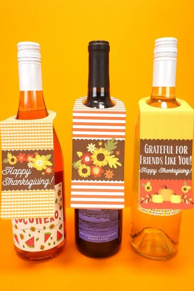 Printable Thanksgiving Wine Bottle Gift Tags