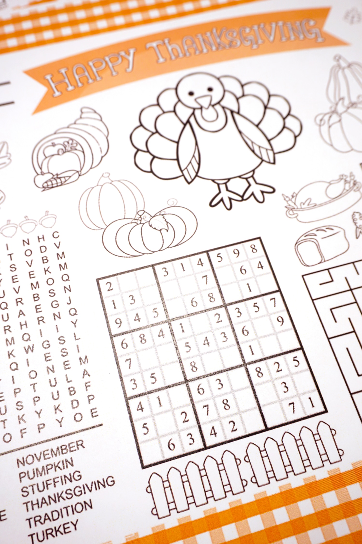 Thanksgiving Kids Placemat with Activities and Coloring