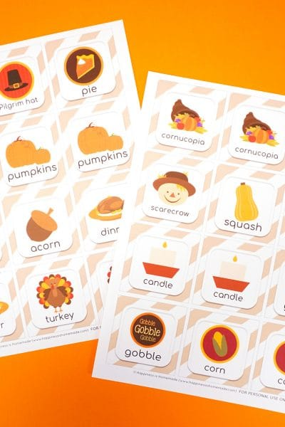Thanksgiving Memory Match Game Cards