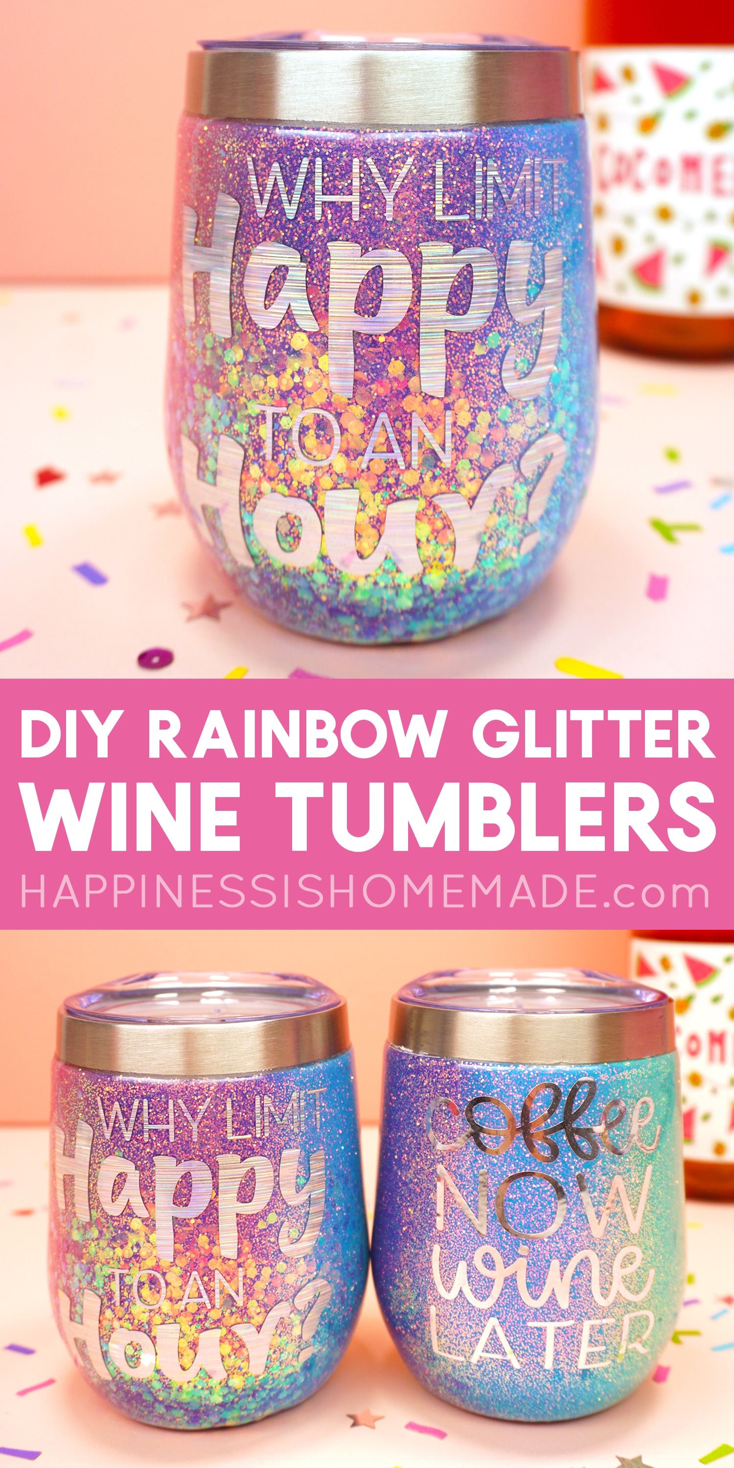DIY Rainbow Glitter Tumblers: Learn how to make a rainbow glitter tumbler - perfect for wine and coffee! Makes a great personalized gift idea that you can easily customize with any colors and designs!These wine tumblers are super fun and easy to make! #DIYGiftIdea #GiftIdeas #GlitterTumbler #Tumblers #Crafts via @hihomemadeblog