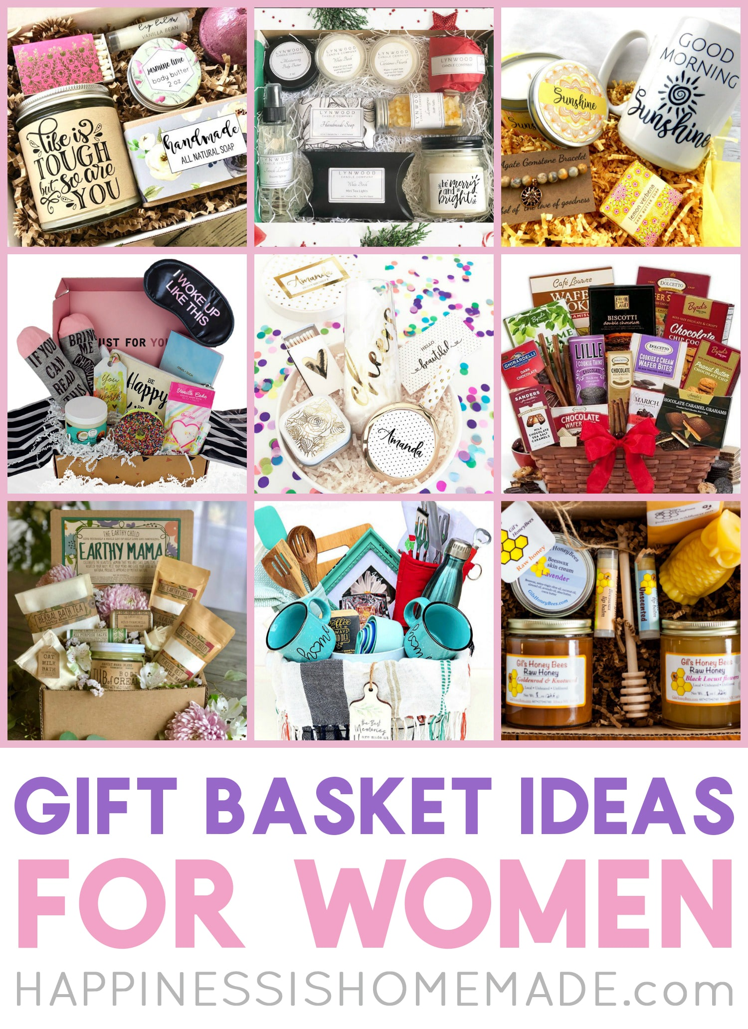 Gift Baskets for Women: Looking for unique gift basket ideas for women? Check out these awesome gift baskets that are perfect for all of the ladies in your life! Spa baskets, chocolate, coffee, tea, and SO much more! via @hihomemadeblog