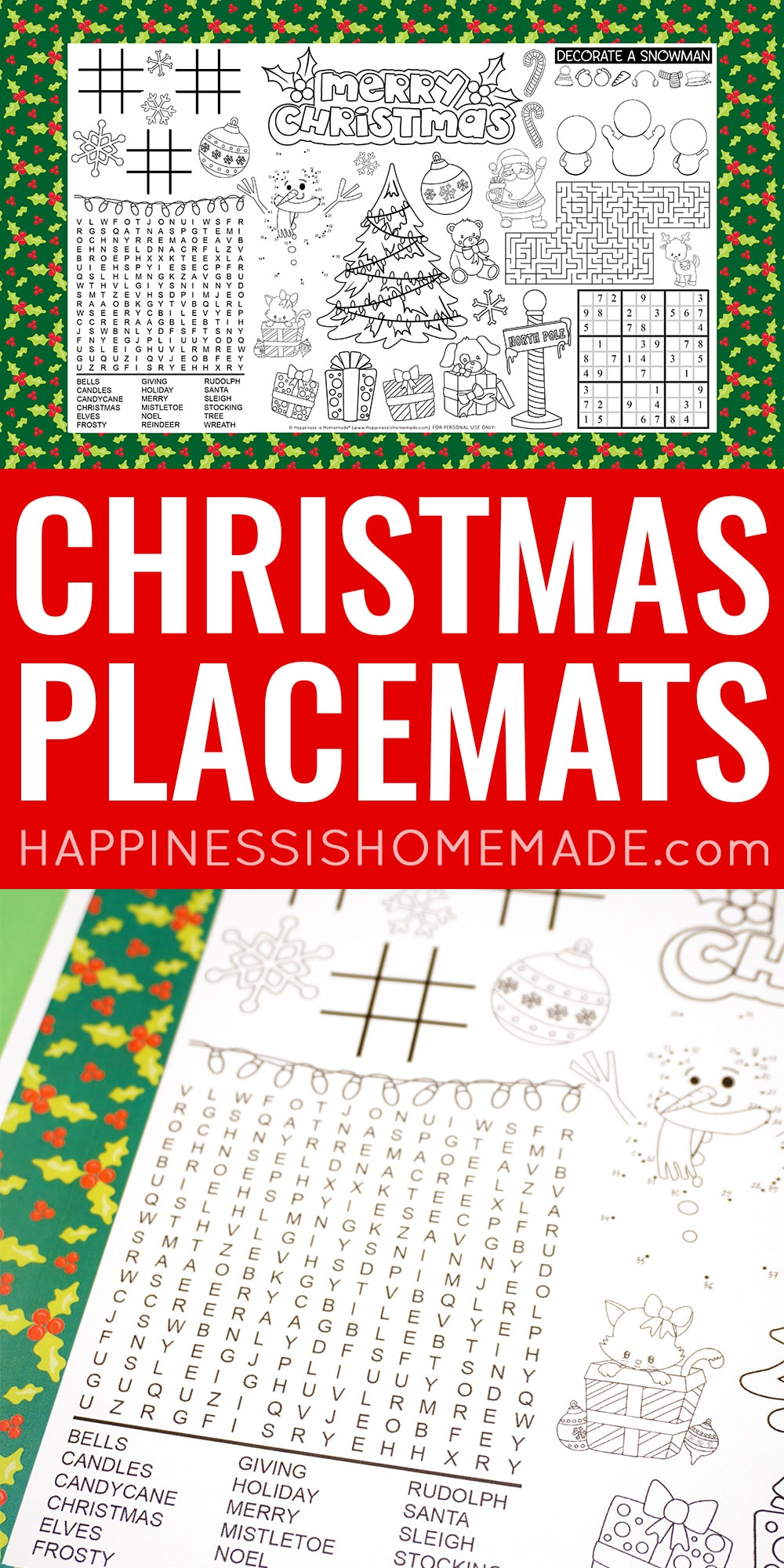 Printable Christmas Placemats for Kids
