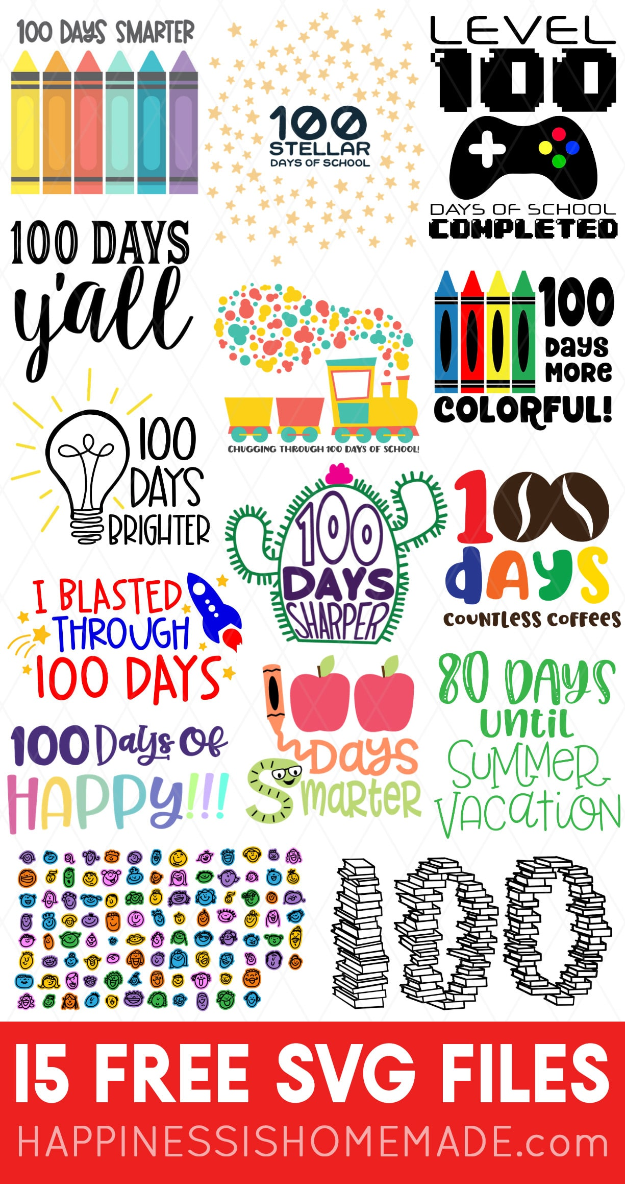 Download 15 FREE 100 Days of School SVGs - Happiness is Homemade