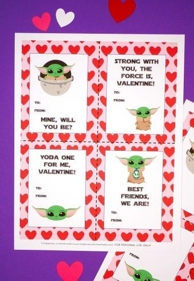 Printable Baby Yoda Valentine Cards