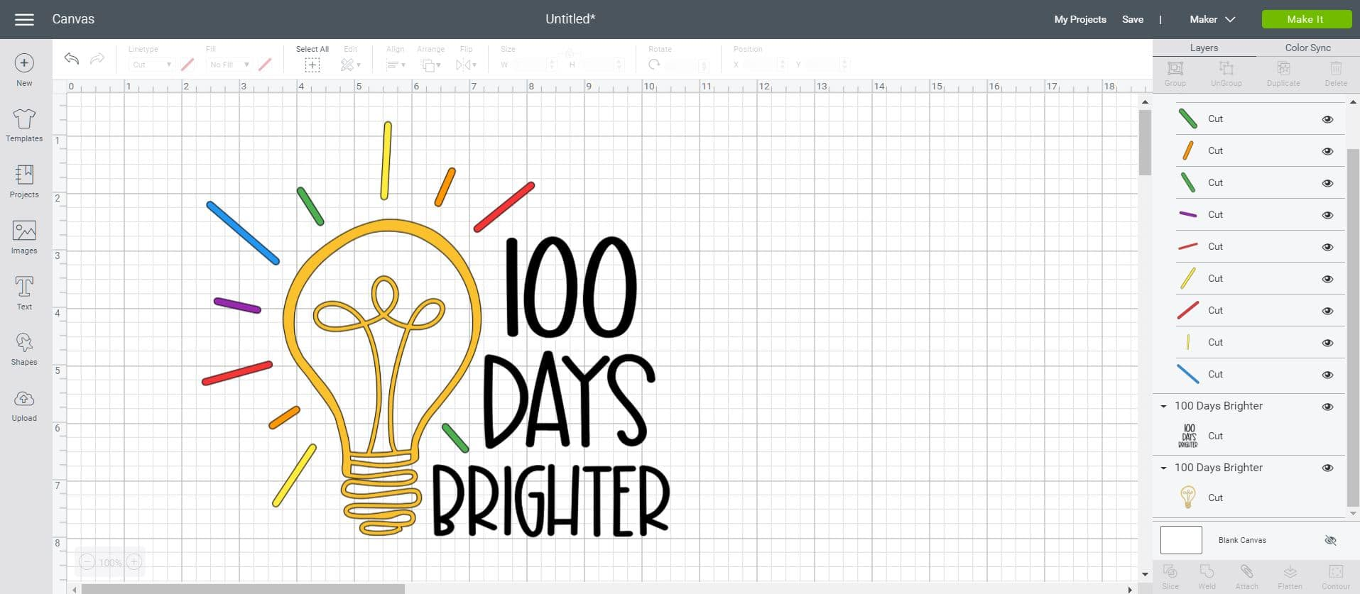 100 Days Brighter SVG Design in Cricut Design Space