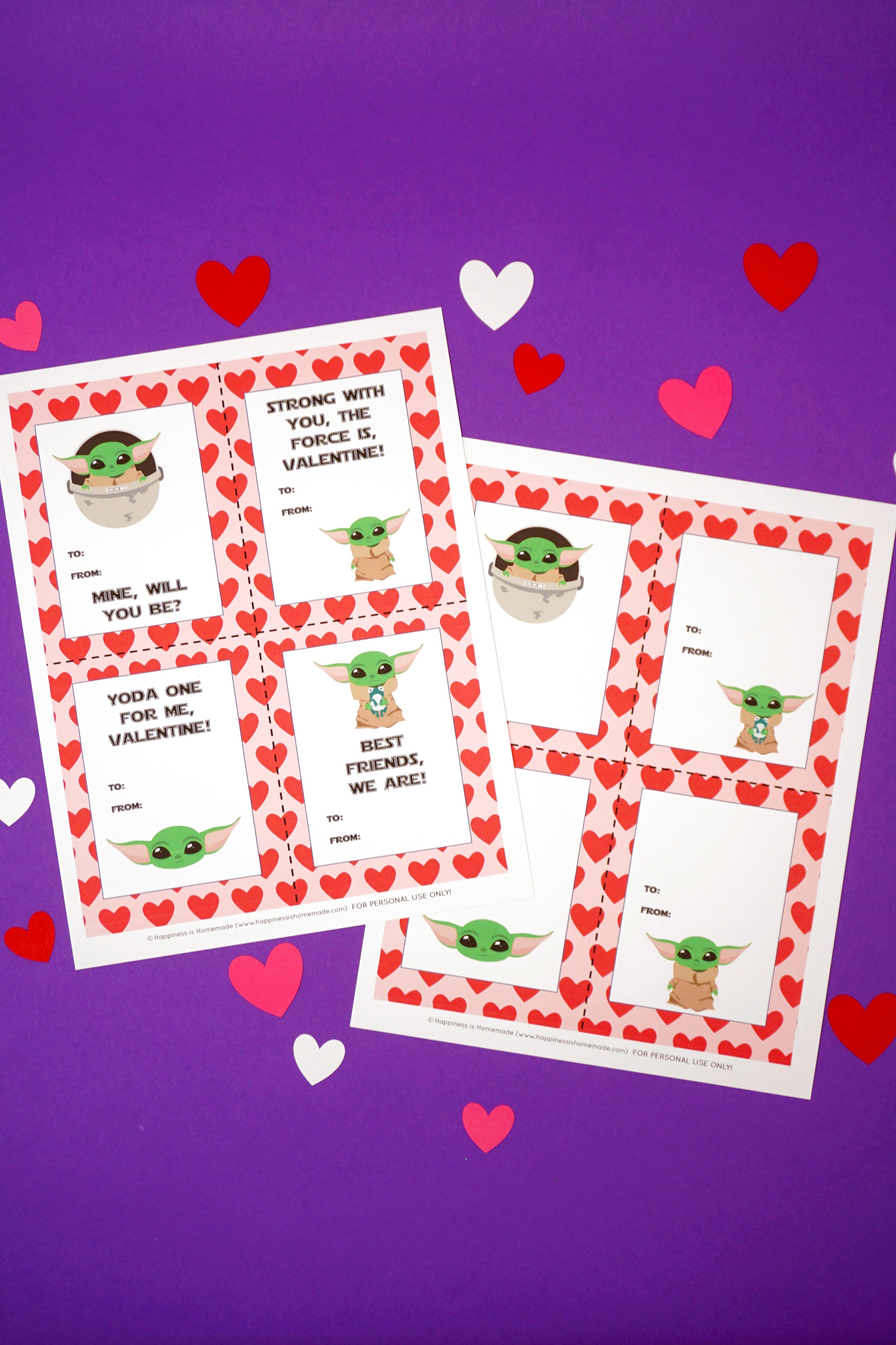 Baby Yoda Valentines Cards