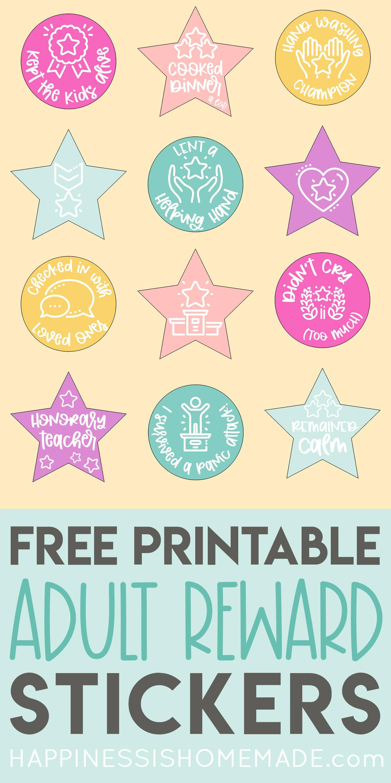 Belohnungsaufkleber für Erwachsene – kostenlos ausdruckbar!