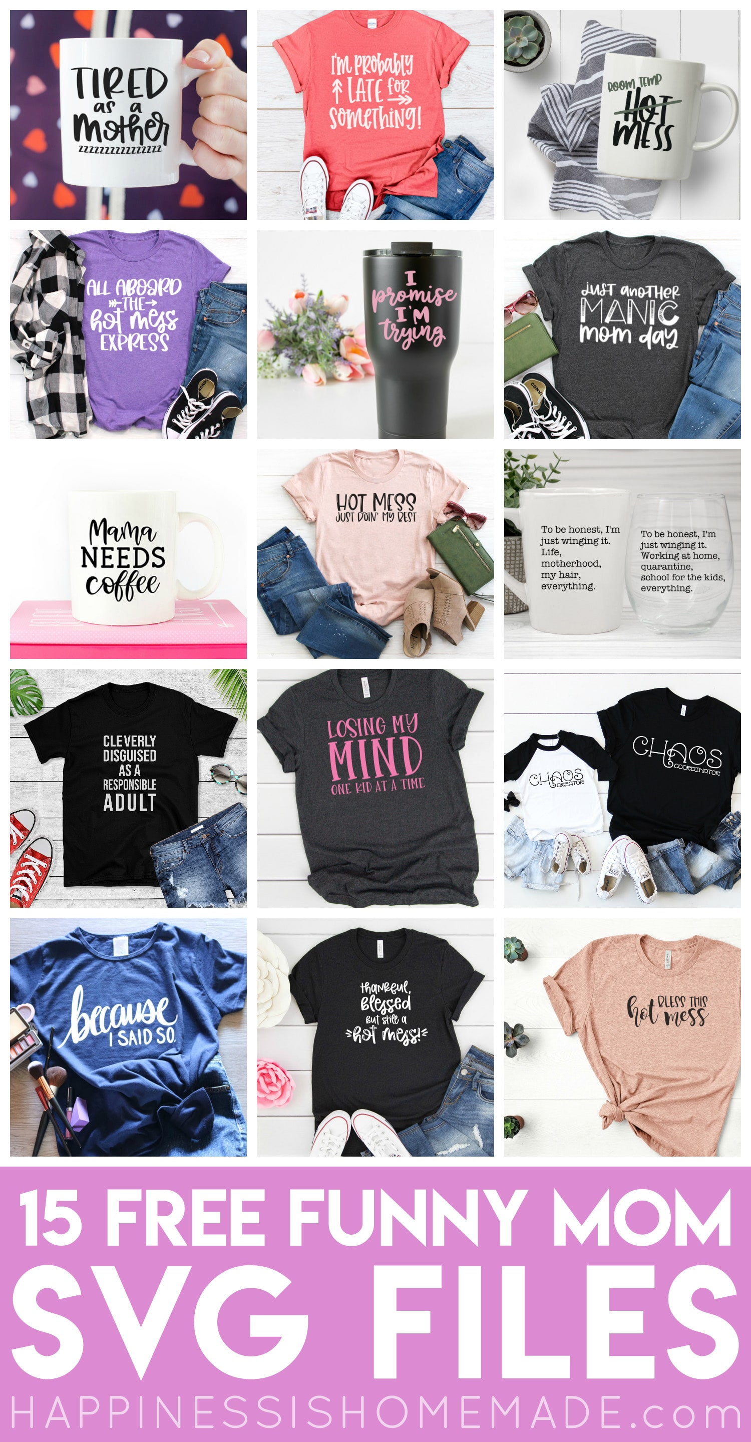 Funny Mom Svg Files Happiness Is Homemade