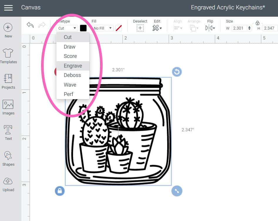 Cricut Design Space screenshot showing how to adjust linetype