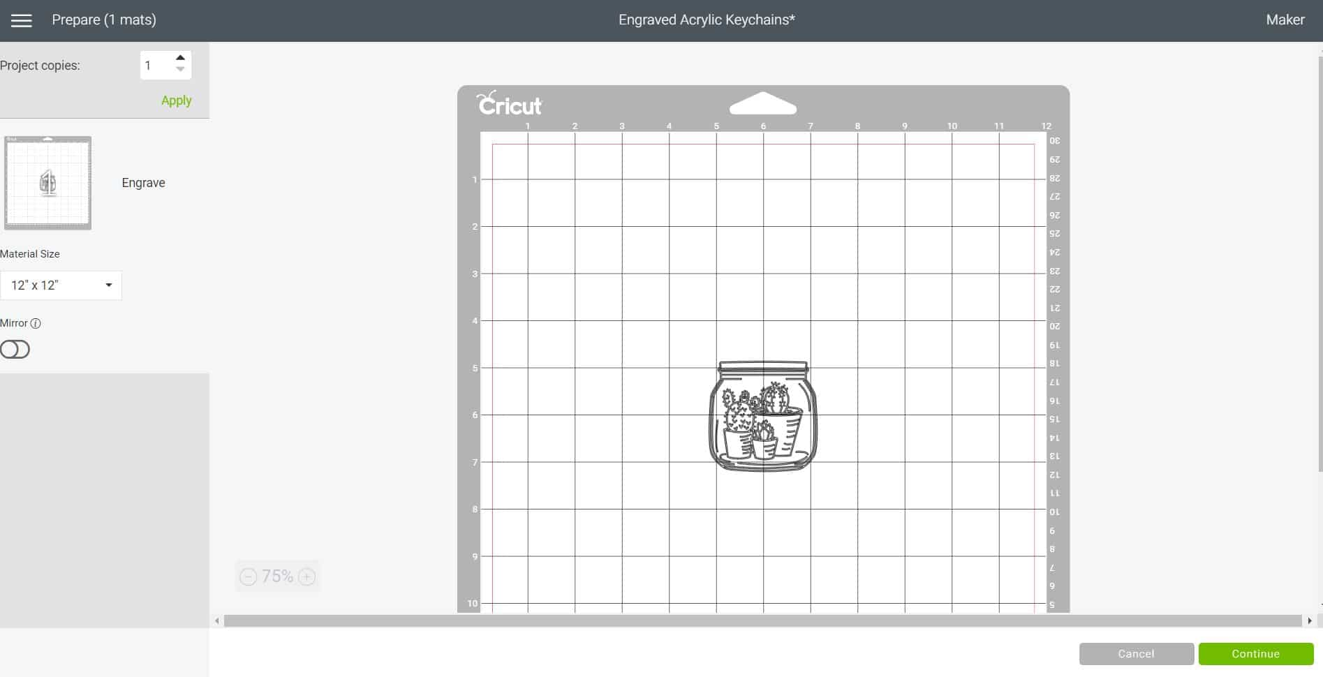 Cricut Design Space screenshot showing image placed in the center of the cutting mat