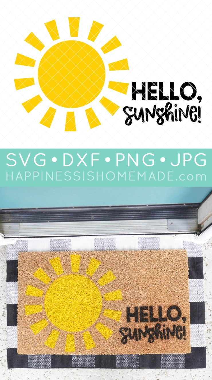 Hello Sunshine DIY Doormat with Cricut and SVG File