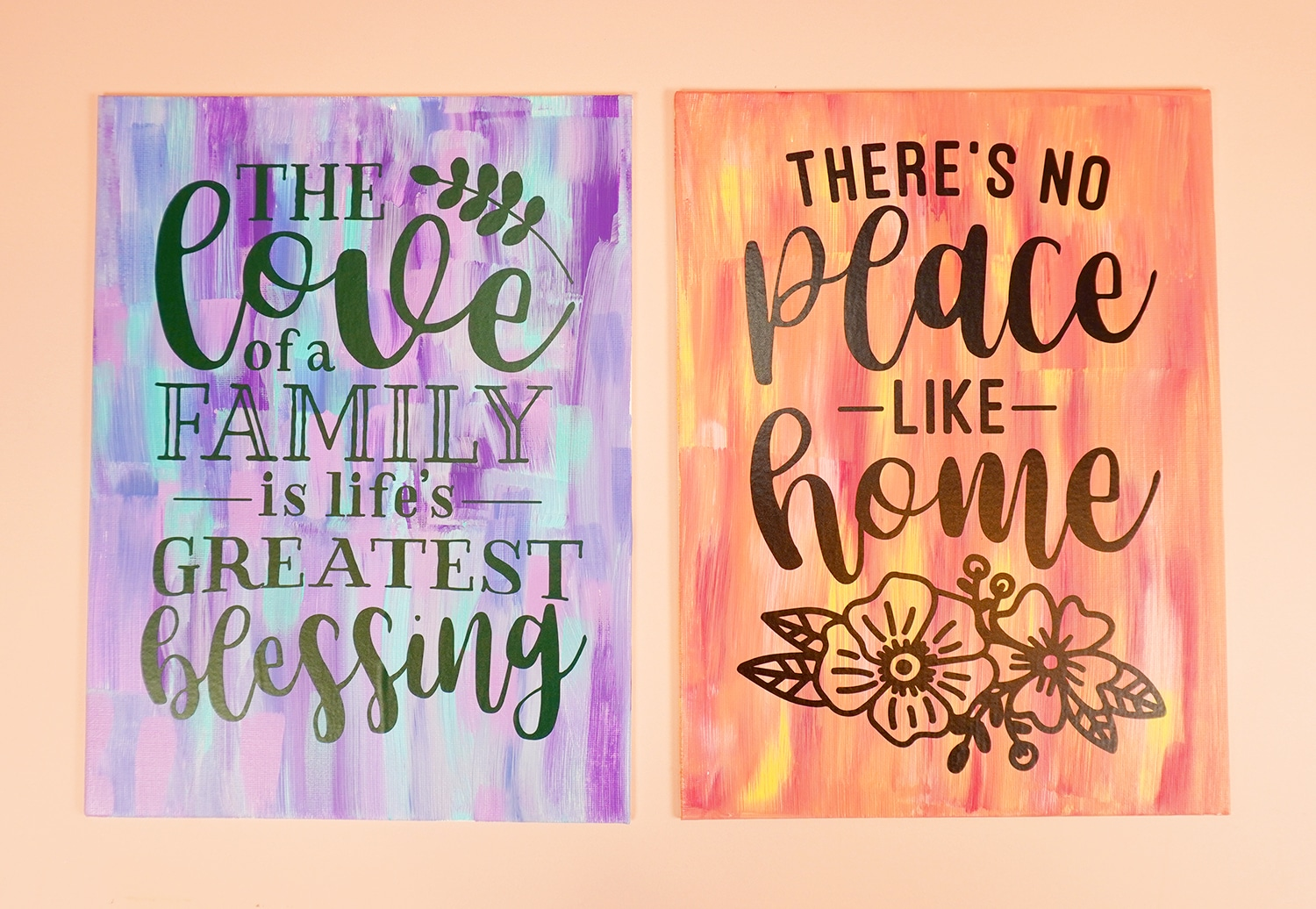 "Two ""hot mess"" painted canvases with vinyl quotes on them"