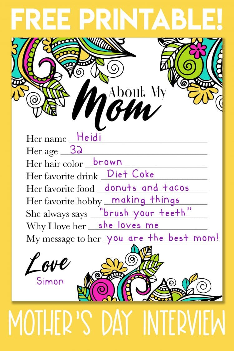 About My Mom Mother's Day printable interview questionnaire