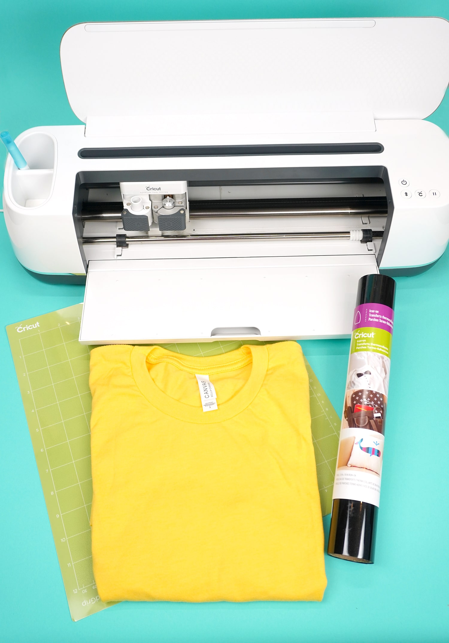 Supplies for making shirts with Cricut Iron-on vinyl